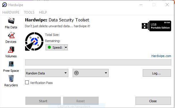 Interface du logiciel HardWipe