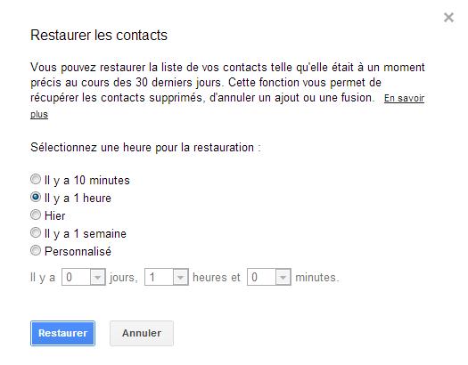 Gmail- Retrouver un contact effacé