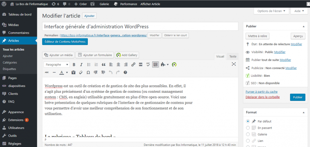 Interface administration WordPress