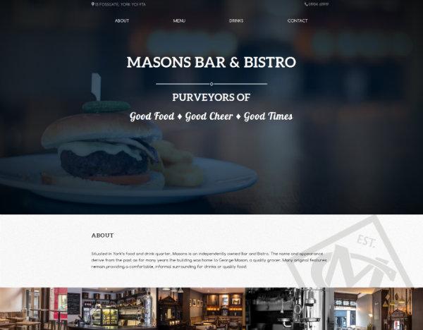 Un bar qui utilise pour son site internet le thème DIVI