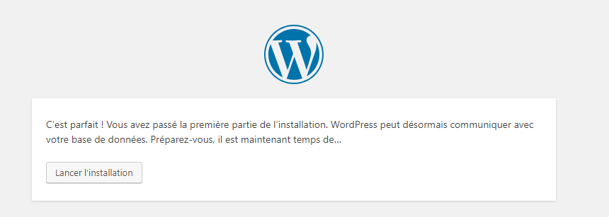 Wordpress est prêt à être installé