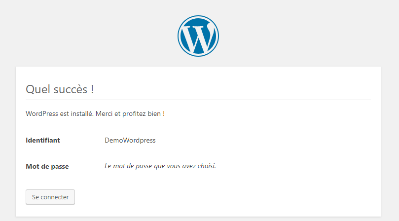WordPress confirmation succès