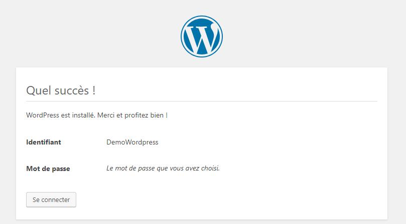WordPress confirmation succès