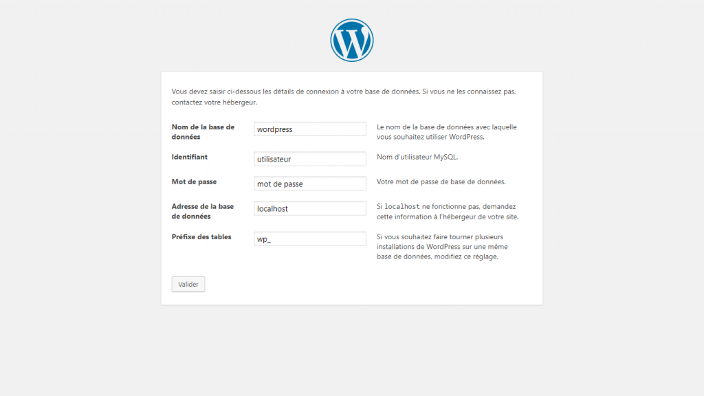 WordPress paramétrage de la base de données