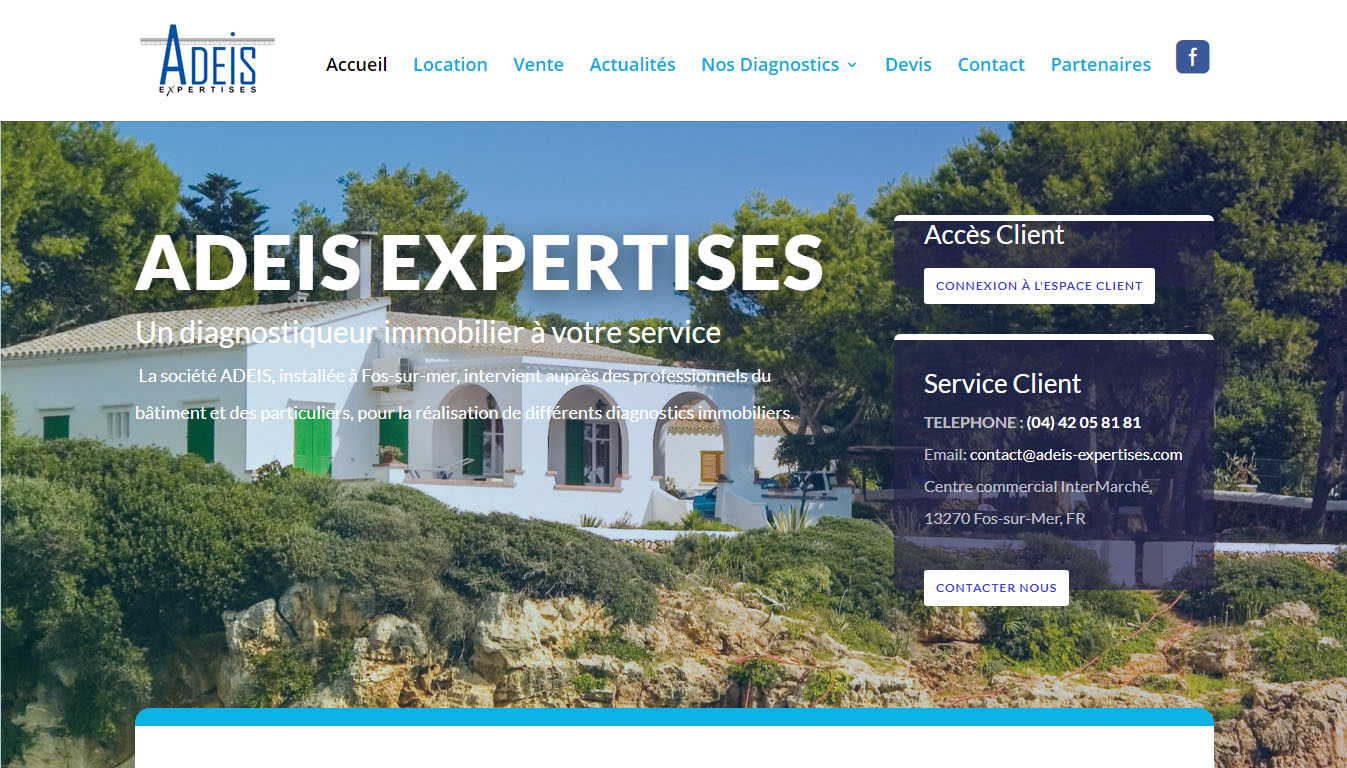 Site internet d'une agence de diagnostics immobiliers