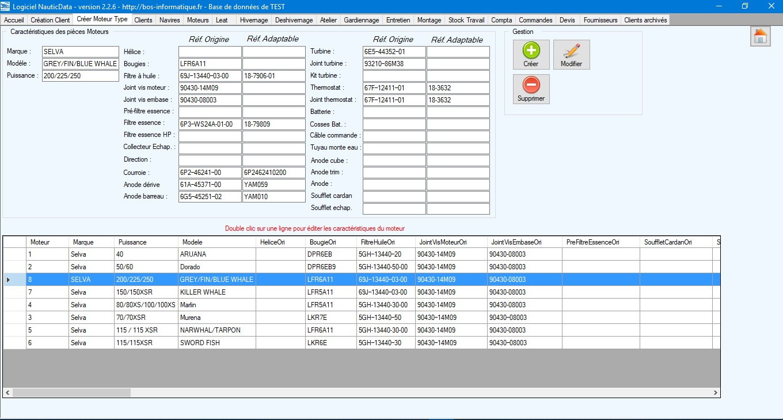 NauticData - Gestion d'un profil moteur dans le logiciel de gestion atelier nautisme