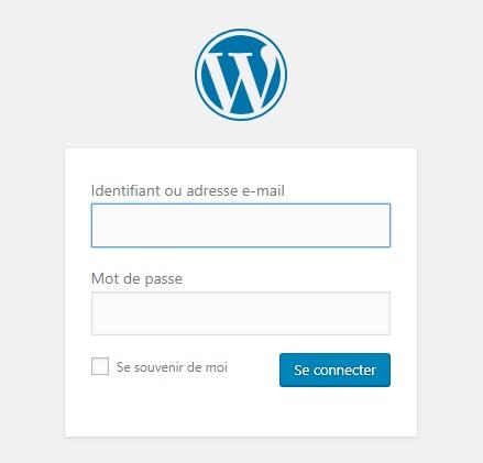 Page de connexion à son site internet WordPress