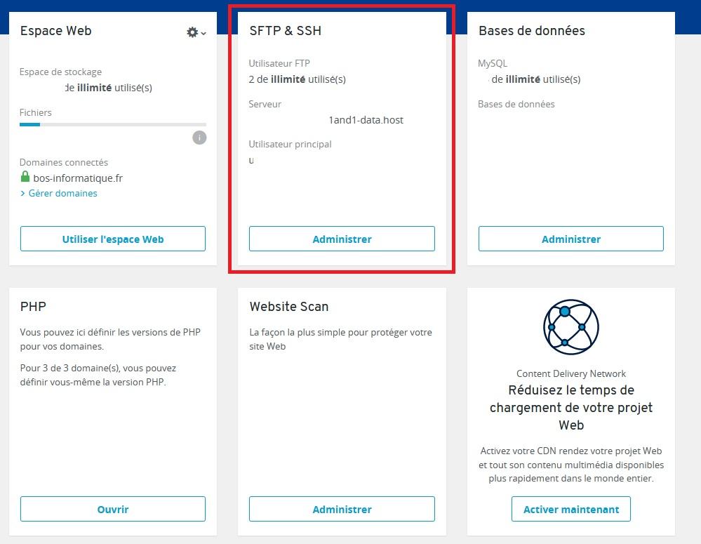 Créer un utilisateur FTP chez IONOS