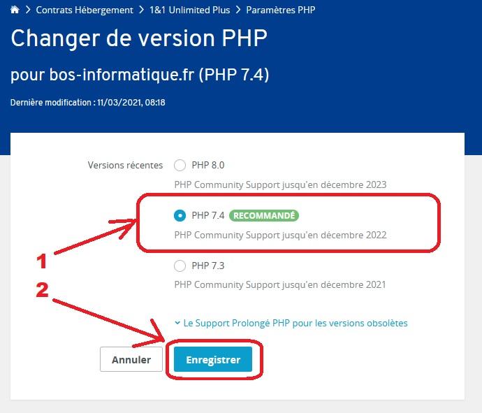 Choisir une version PHP et enregistrer