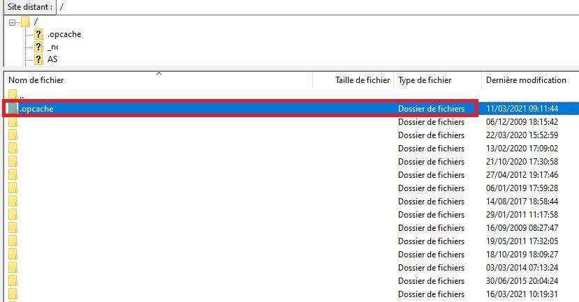 Création du dossier OPCache sur votre site internet