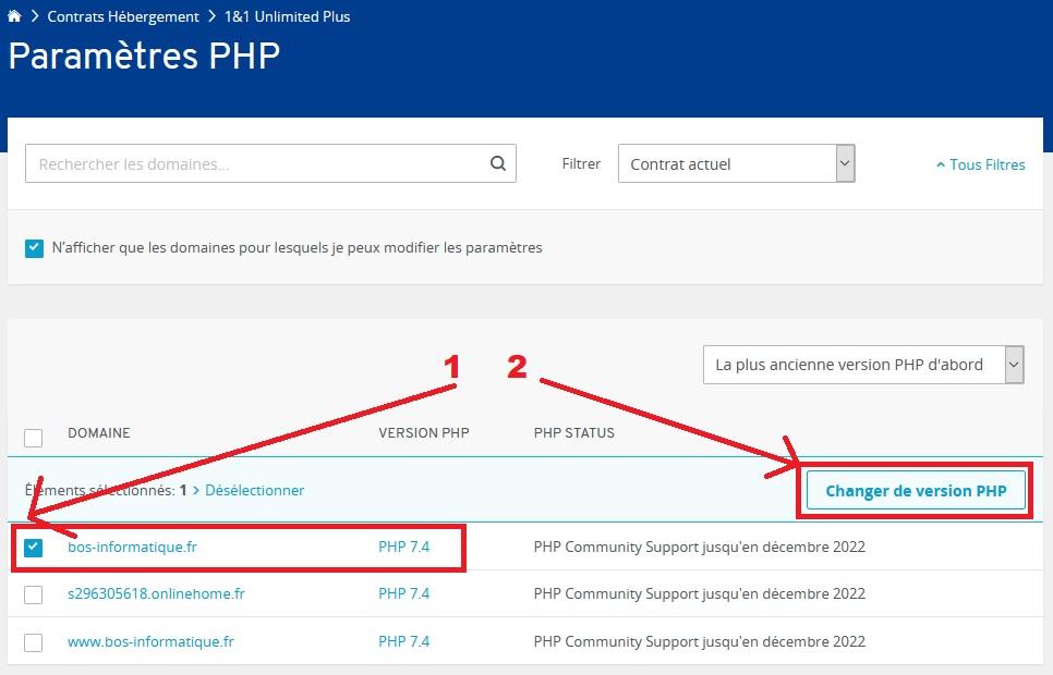 Choisir la version de php chez IONOS
